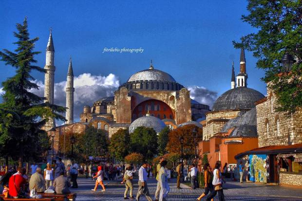 The Famous Hagia Sophia. The building that was a holy house for Christians in Byzantium Era. When Sultan Mehmet conquered the city, He changed its function to be mosque, but still keep Christian decoration inside the building. Now, The Government has changed it to be a museum