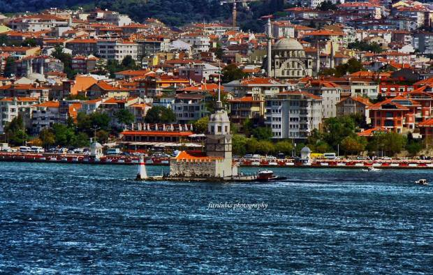 Bosphorus Strait with view of Maiden Tower