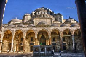 Suleymaniye Mosque. It was built by the famous architect, Mimar Sinan, by order from Sultan Suleyman or also known as Suleyman the Magnificent. It's also known as the biggest mosque in the city