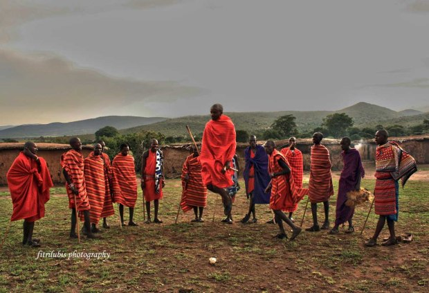Maasai Men performing traditional dancing