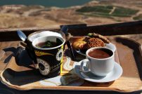 Enjoying Arabian coffee and tea while enjoying the view of Mujib Dam
