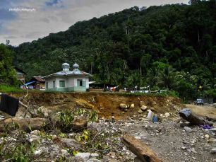 Uring village, one of villages we passed. The small mosque became shelter for affected people post disaster